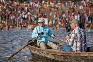 Mark rows on Ganges River in India during filming of RiverBlue